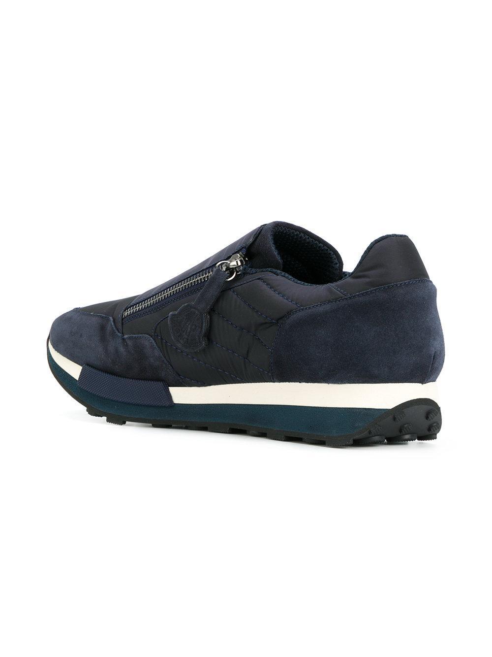 Moncler Rubber Zip Detail Low Top Sneakers in Blue for Men