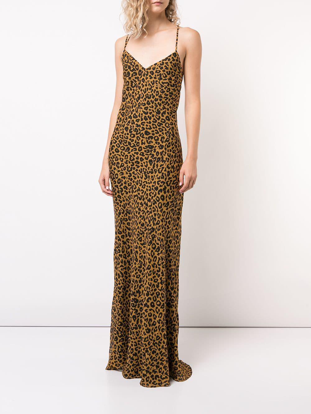 76e4c53e4 Lyst - Michelle Mason Leopard Print Bias Gown in Brown