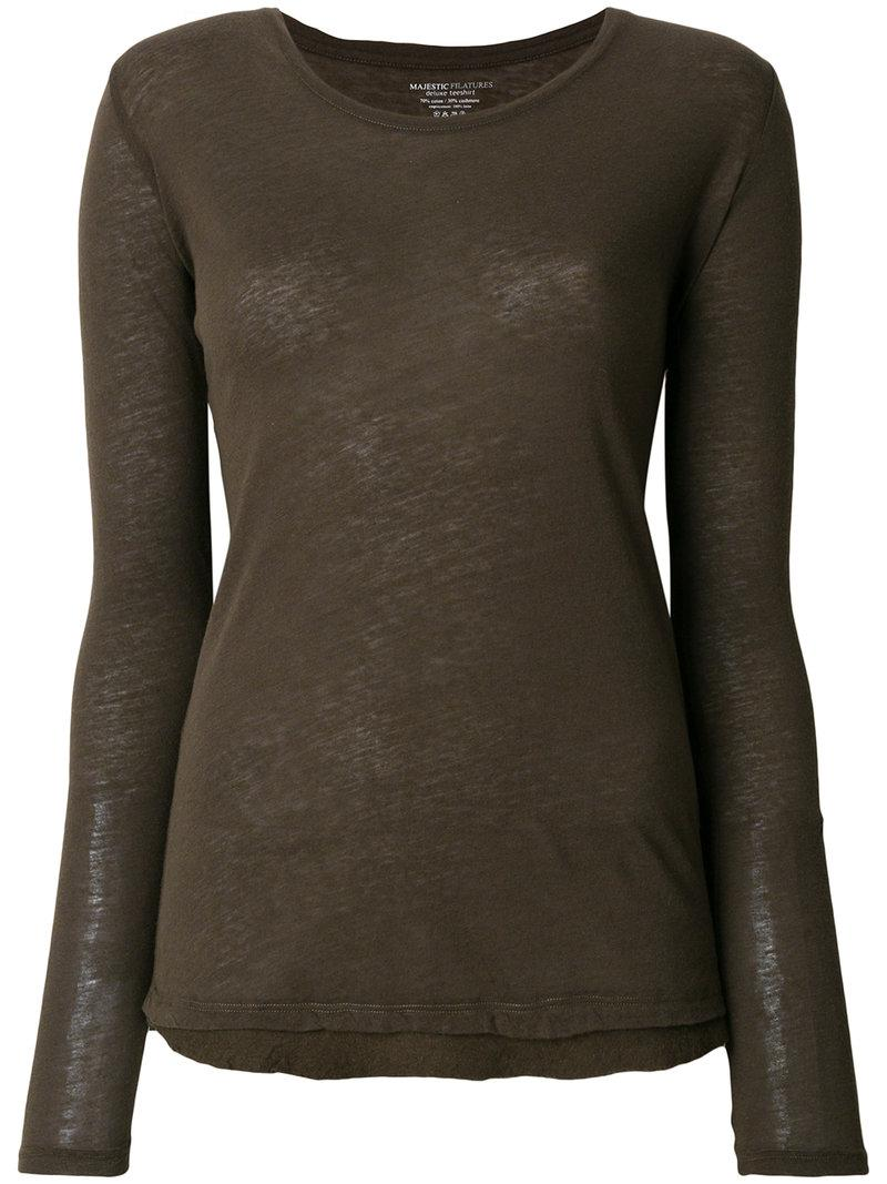 Lyst Majestic Filatures Long Sleeved T Shirt In Brown