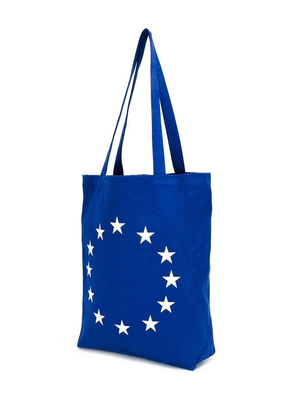 Etudes Studio Cotton Embroidered Star Tote in Blue