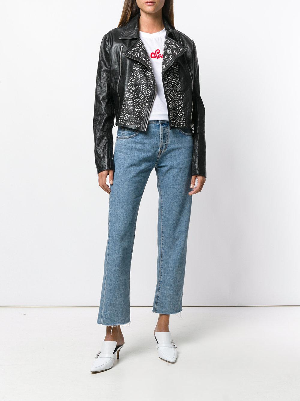 Chaqueta biker con apliques Versace Jeans Couture de Denim de color Negro