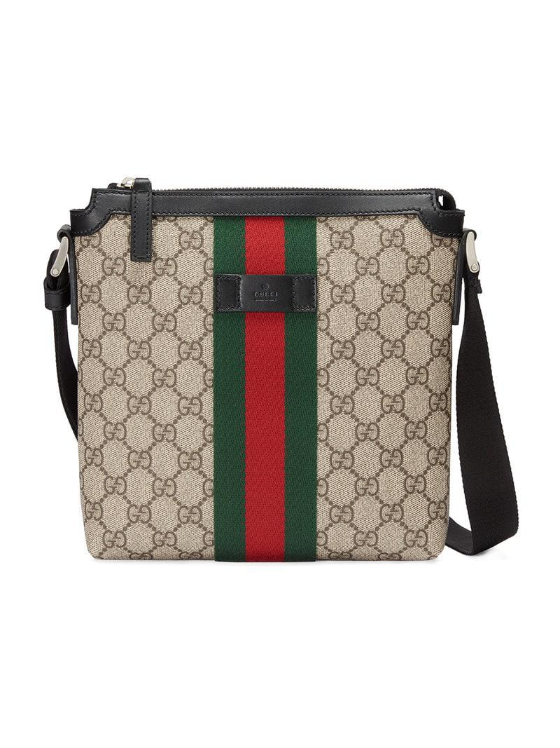 3adc1d73f520 Gucci Web GG Supreme Flat Messenger Bag for Men - Save 18% - Lyst