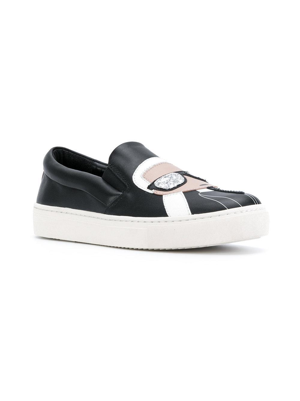 Karl Lagerfeld Leather Kupsole Karl Ikonic Sneakers in Black