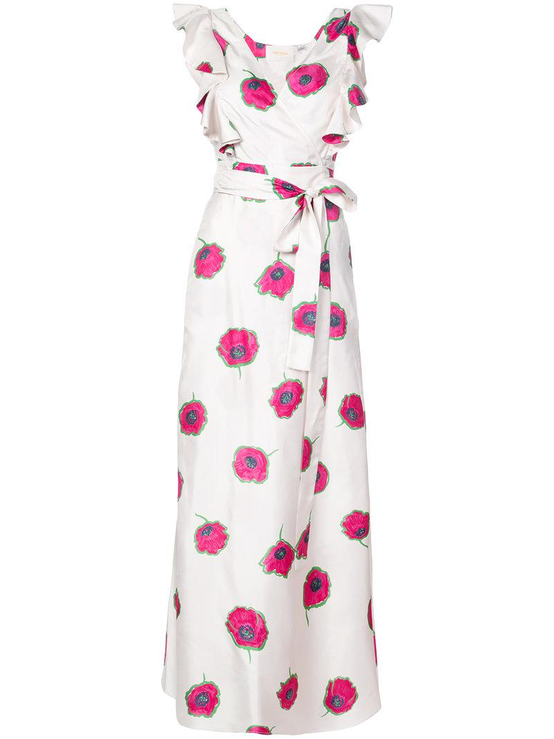 floral ruffled midi dress - White La DoubleJ 9lJEqjZ