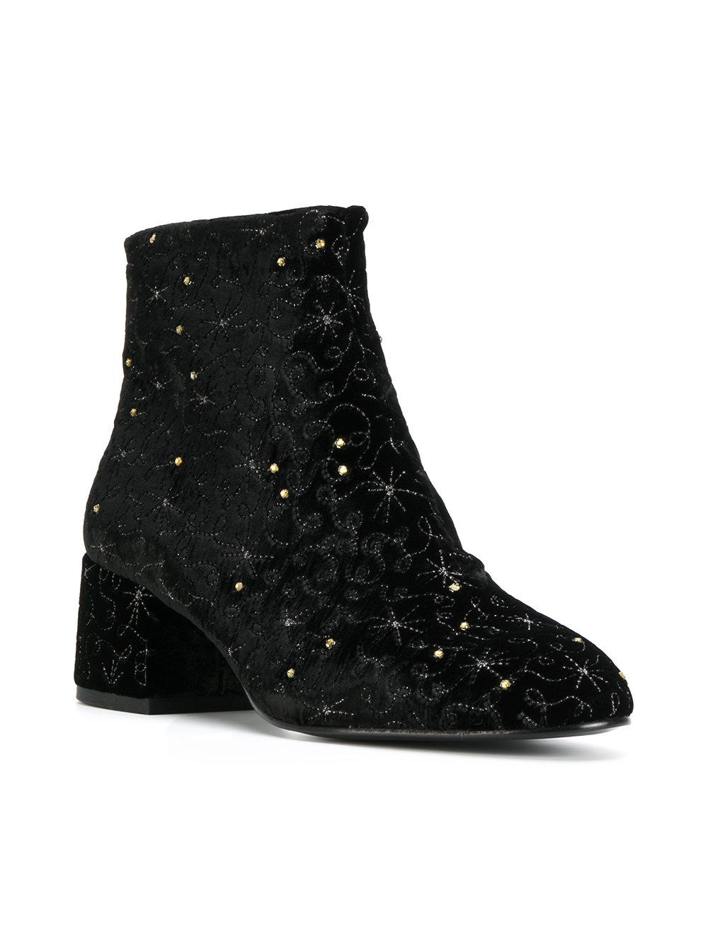 Ash Velvet Embroidered Ankle Boots in Black