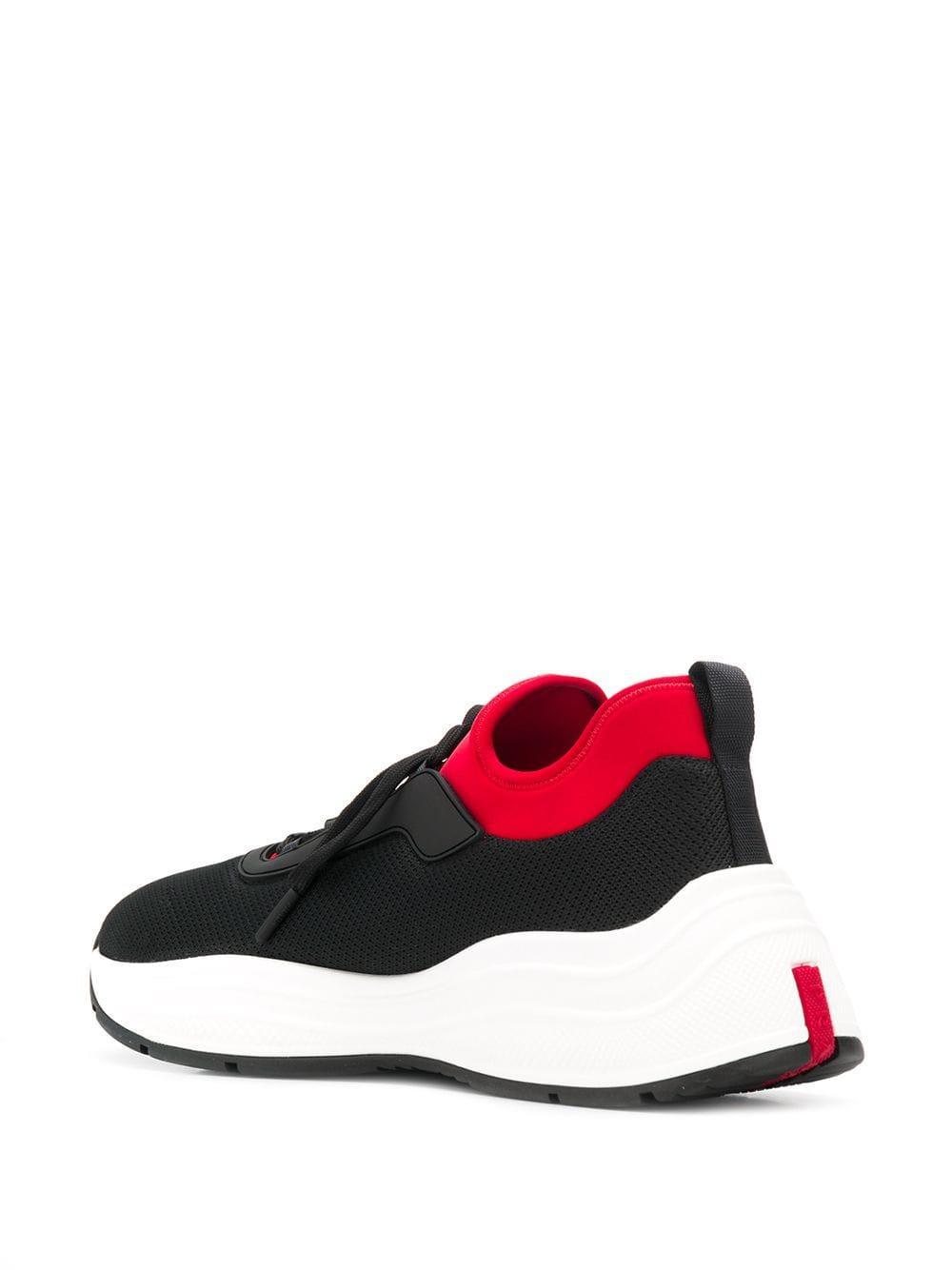 Zapatillas bajas Prada de Caucho de color Negro para hombre