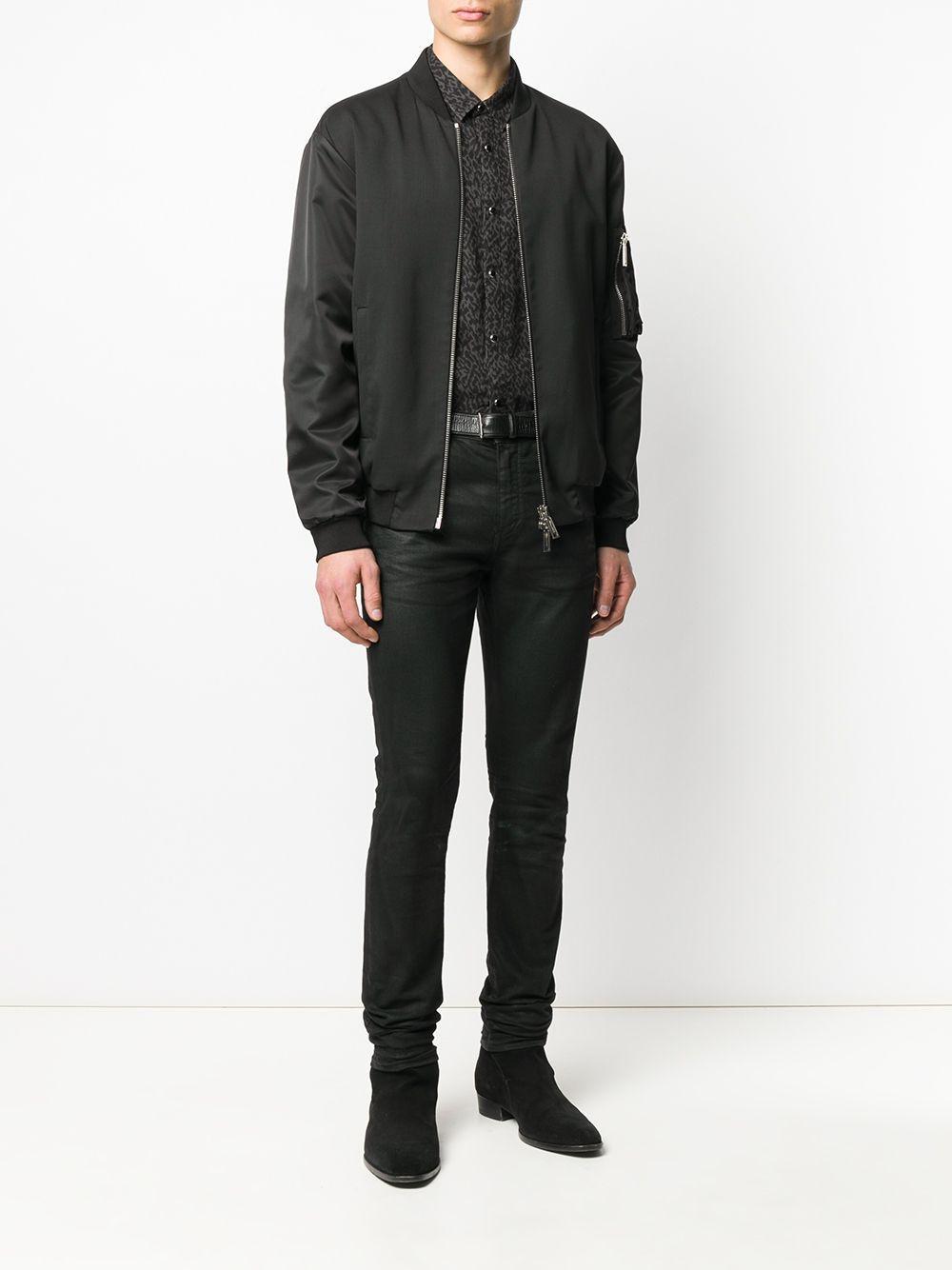 John Varvatos Katoen Overhemd Met Luipaardprint in het Zwart voor heren