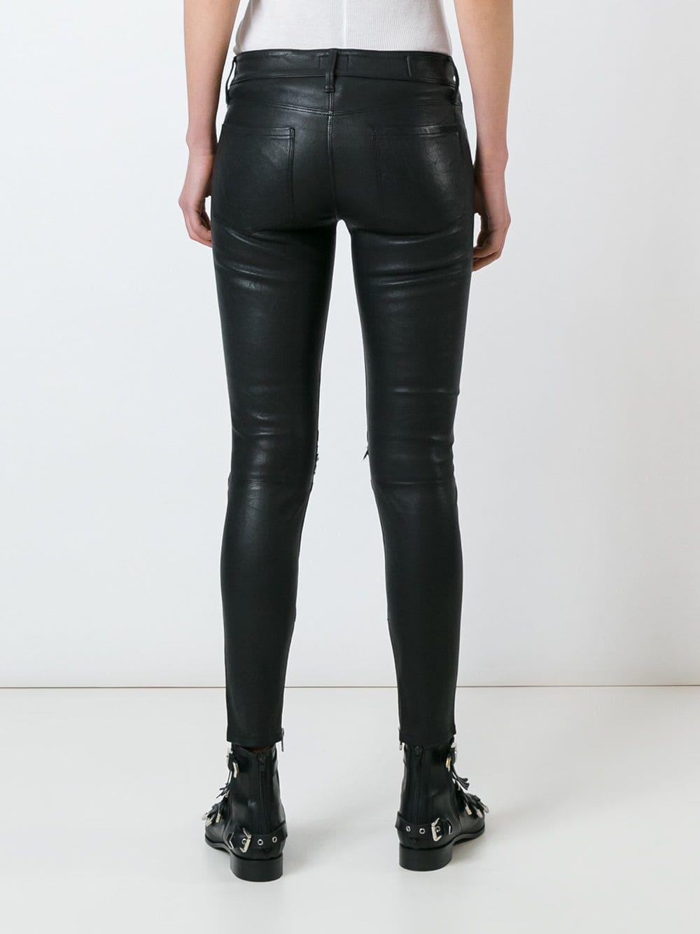 original large discount women Women's Black Distressed Leather Pants