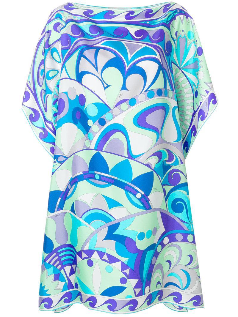 printed kaftan dress - Blue Emilio Pucci zK0GXa2