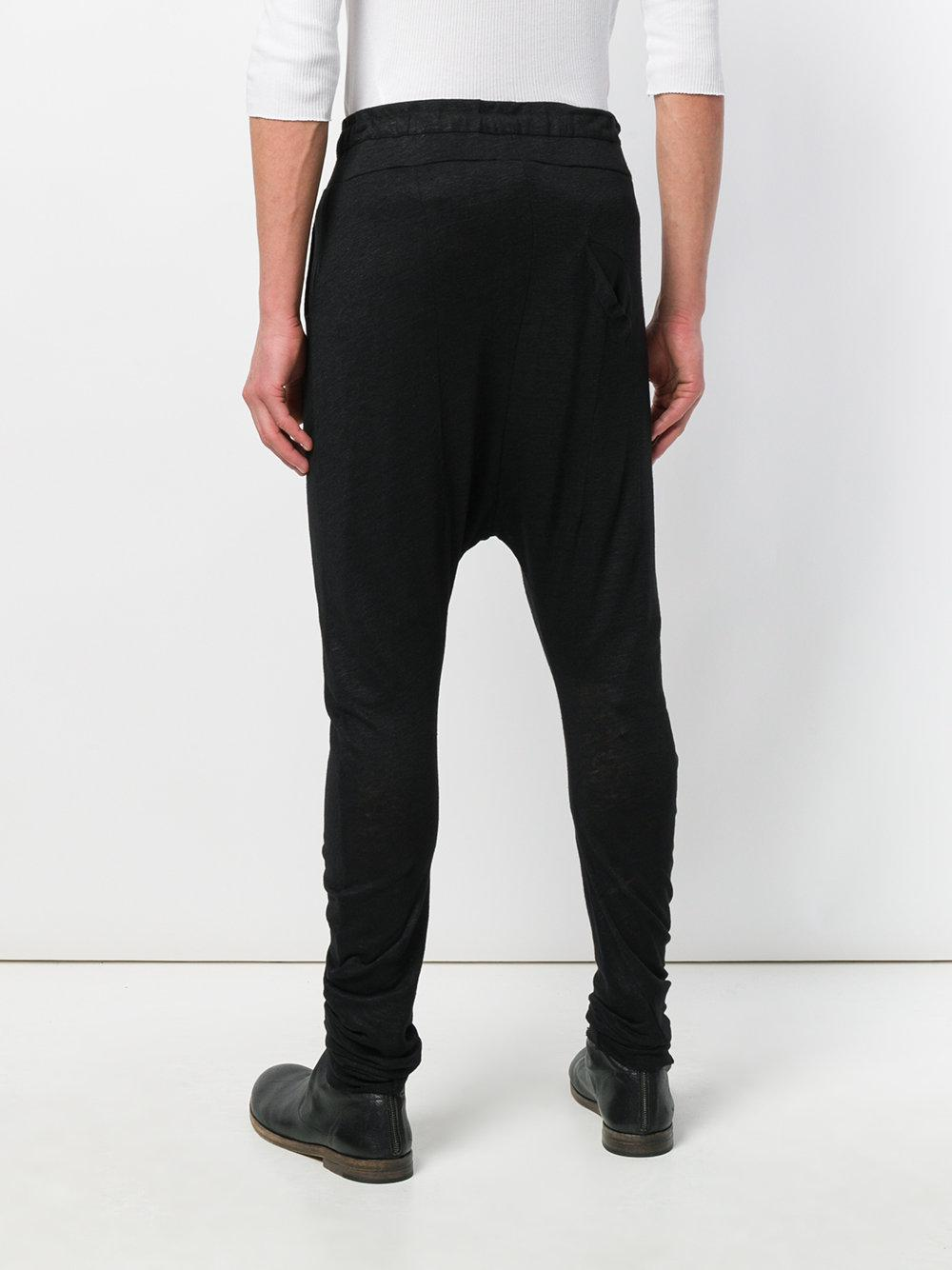 Army Of Me Linen Drop Crotch Trousers in Black for Men