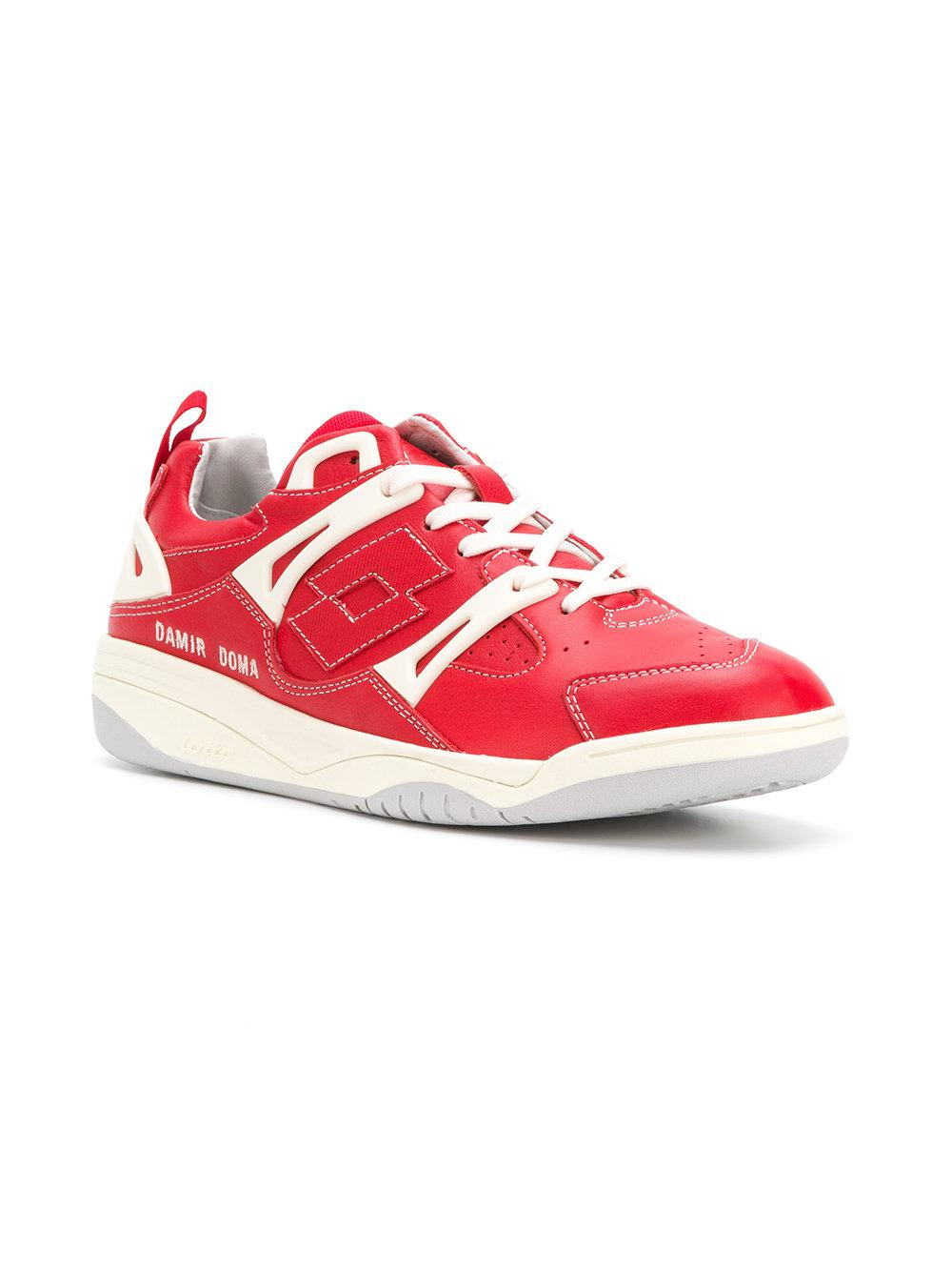 Damir Doma Leather Panelled Low-top Sneakers in Red