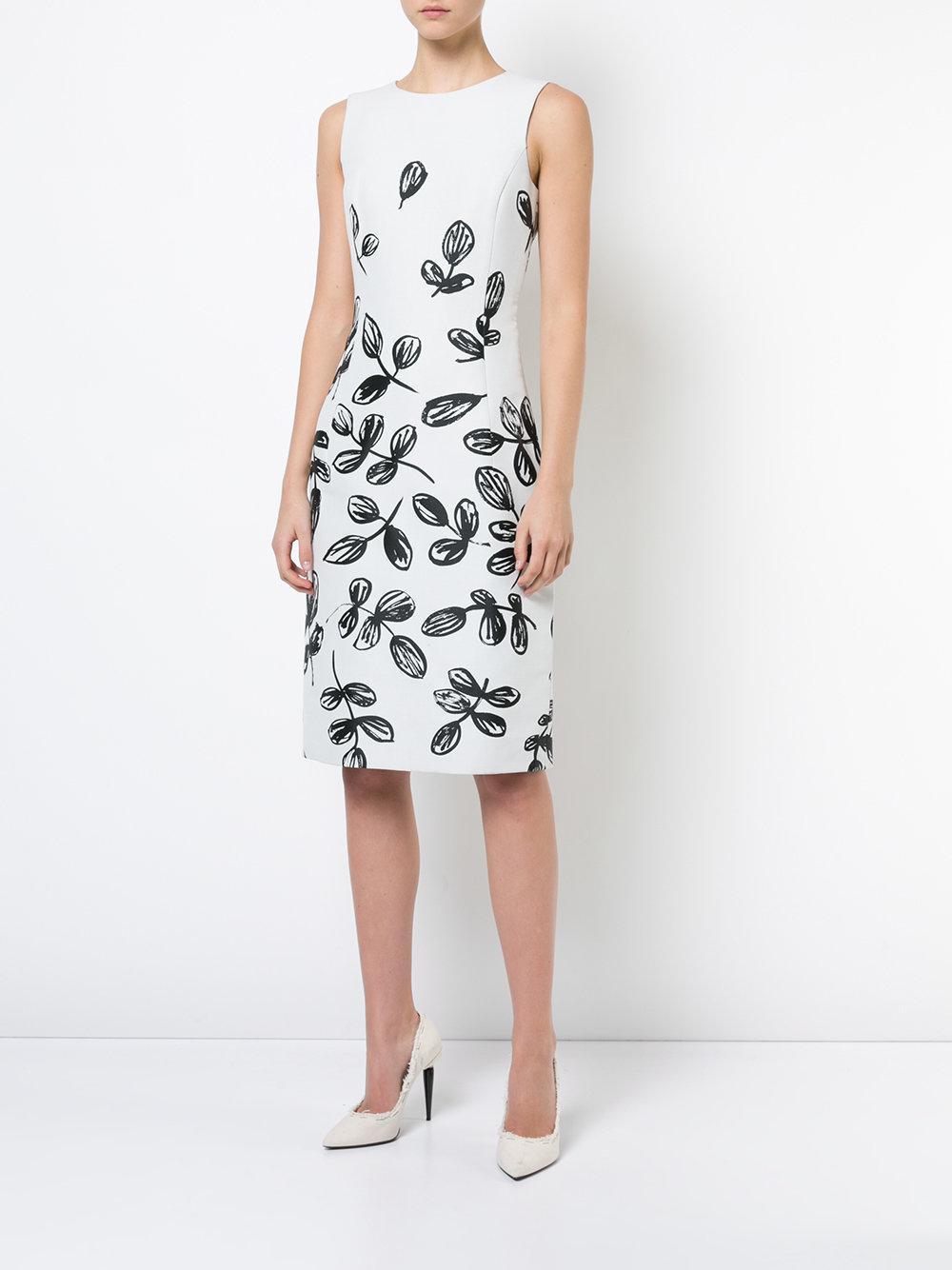 Oscar De La Renta Floral Print Dress In White Lyst