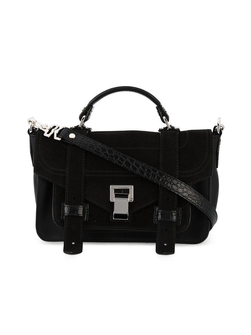 Proenza Schouler Suede Medium Black Ps1+ Cross Body Bag