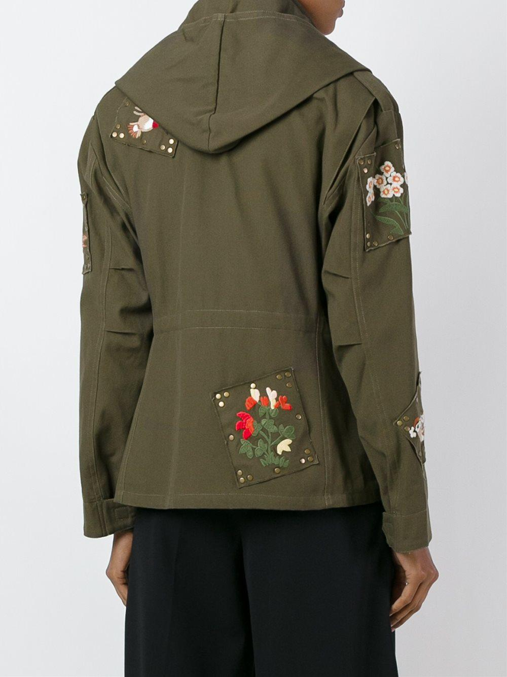 Red Valentino Embroidered Cotton Military Jacket In Blue