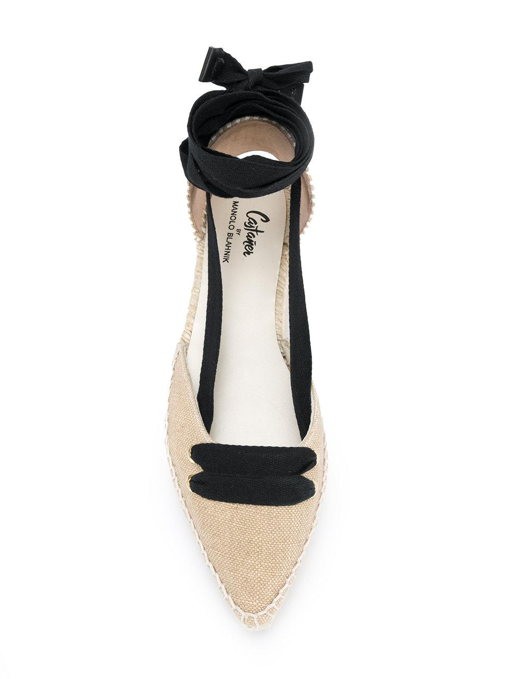 Lyst Manolo Blahnik Lace Up Ballerina Shoes In Natural