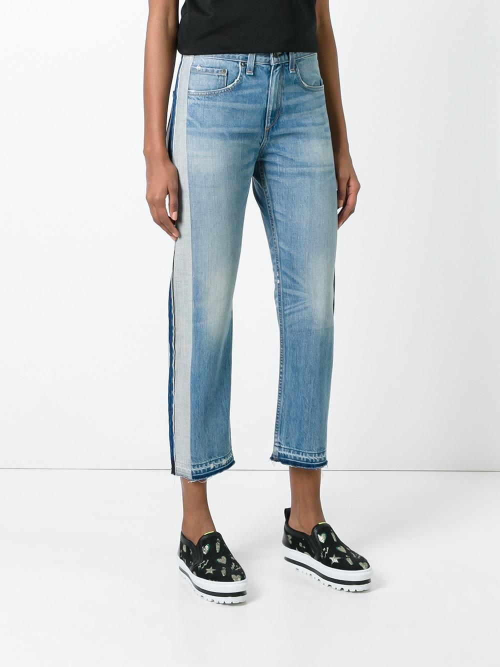 Rag & Bone Denim Striped Trim Cropped Jeans in Blue