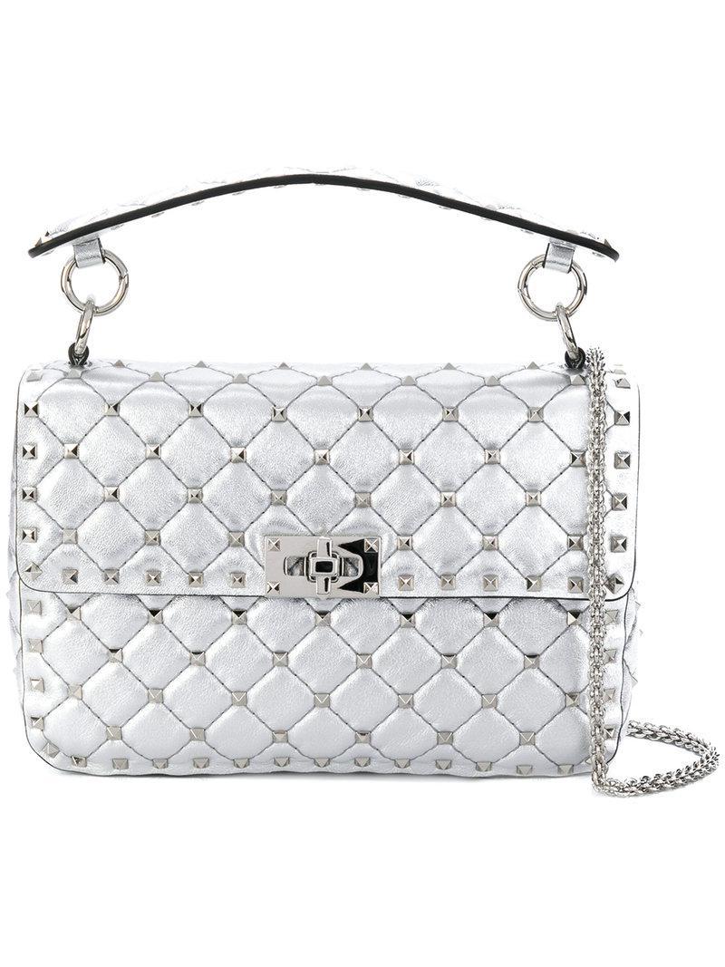 0c142aaaf4b Valentino Garavani Medium Rockstud Spike Shoulder Bag in Metallic - Lyst