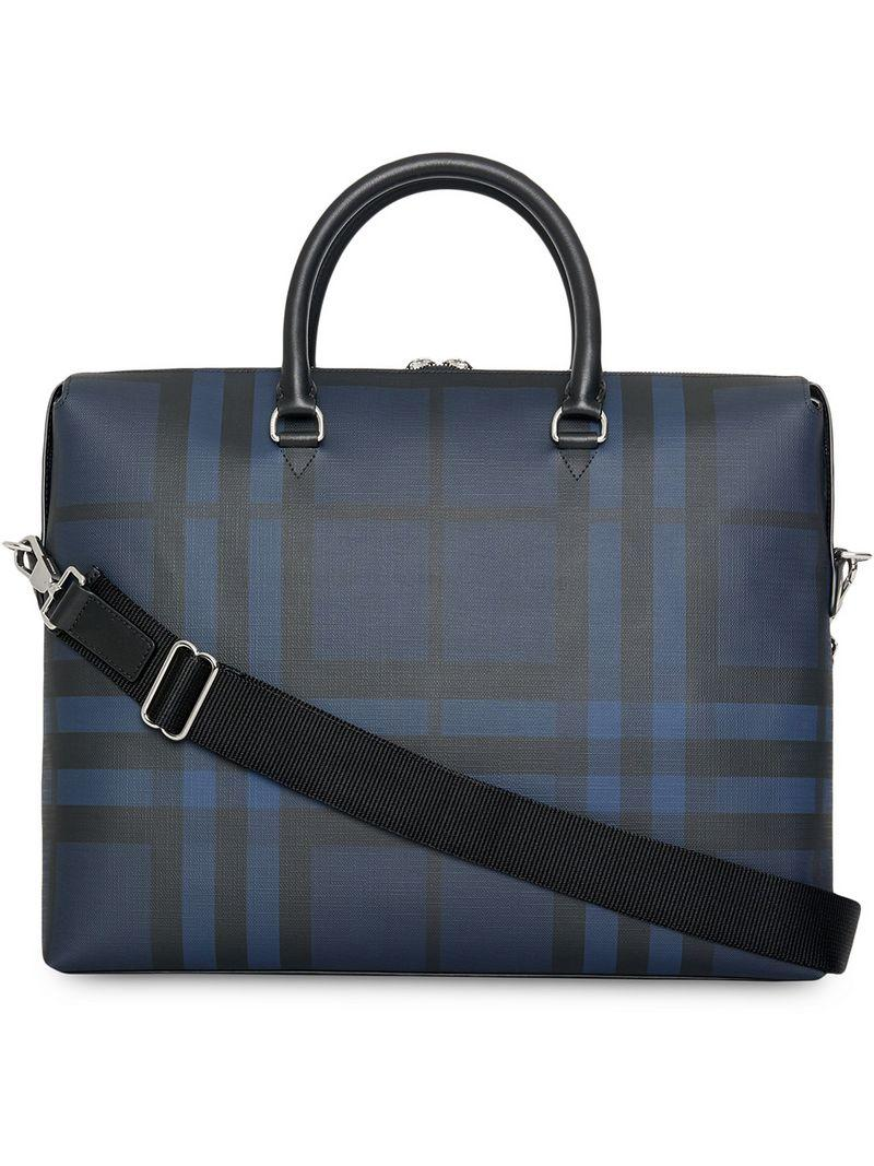c616be4d73 Lyst - Burberry London Check And Leather Briefcase in Blue for Men
