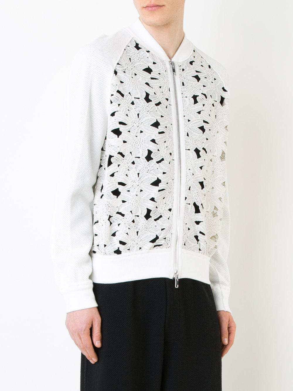 Marna Ro Floral Lace Bomber Jacket in White for Men