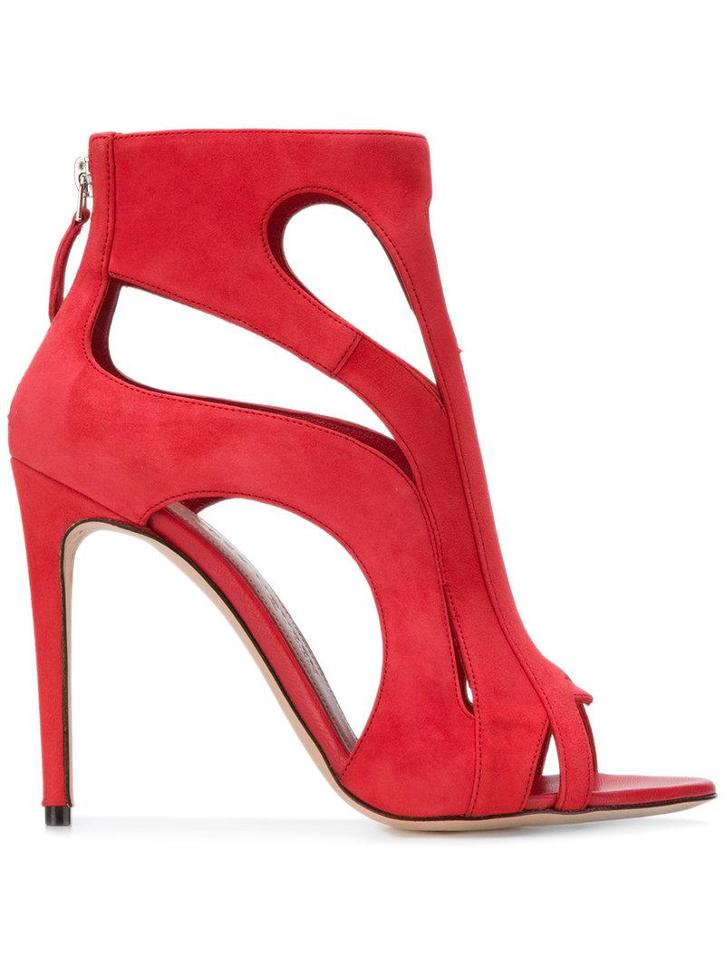 dc11233ed2a Lyst - Alexander Mcqueen Cage Sandals in Red