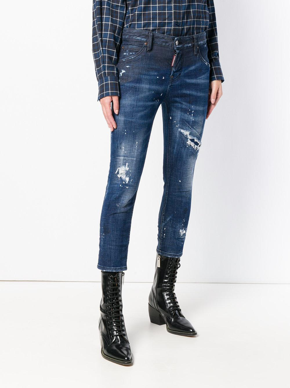 DSquared² Denim Distressed Cropped Skinny Jeans in Blue