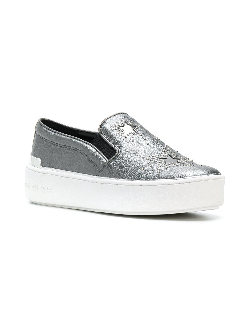 MICHAEL Michael Kors Leather Tyson Slip-on Sneakers in Grey (Grey)