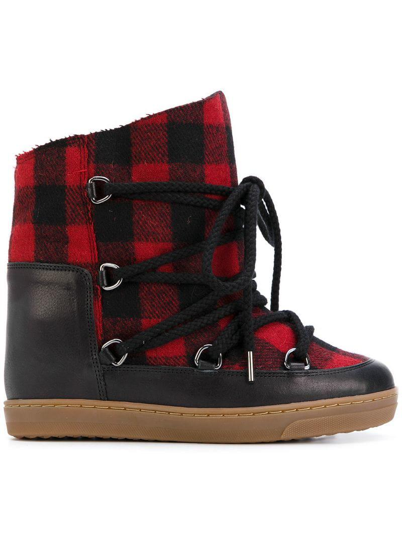 Isabel Marant Wool Tartan Shearling Nowles Boots in Red