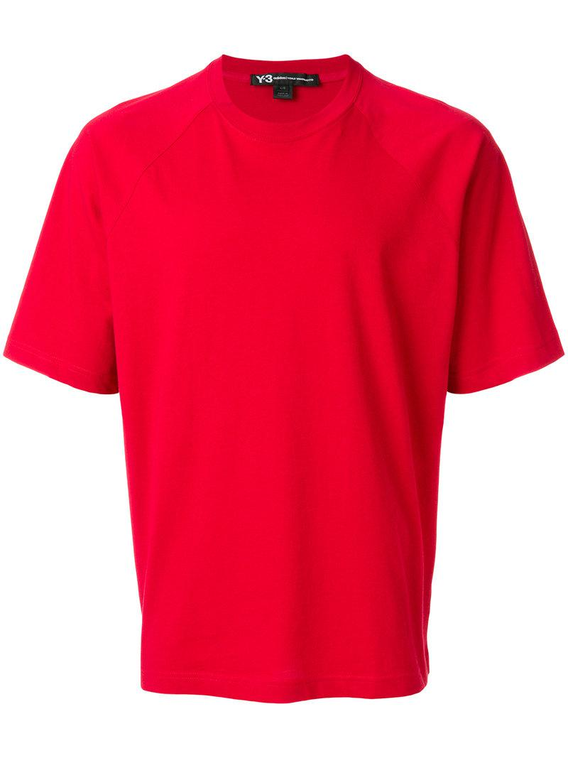 Lyst y 3 logo print t shirt in red for men for T shirt with logo printed