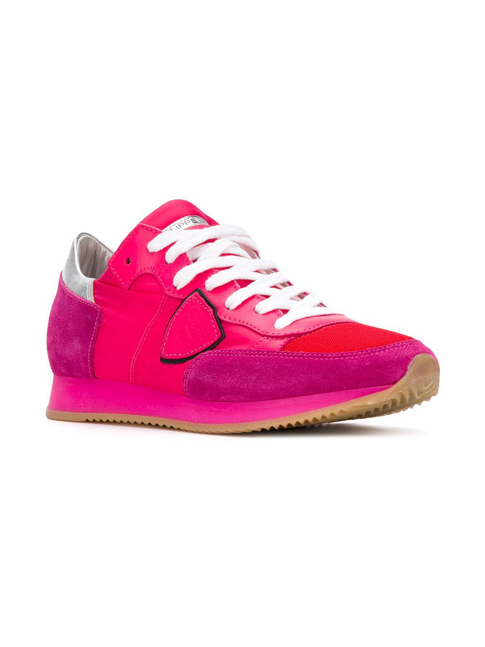 Philippe Model Leather Tropez Sneakers in Pink & Purple (Pink)