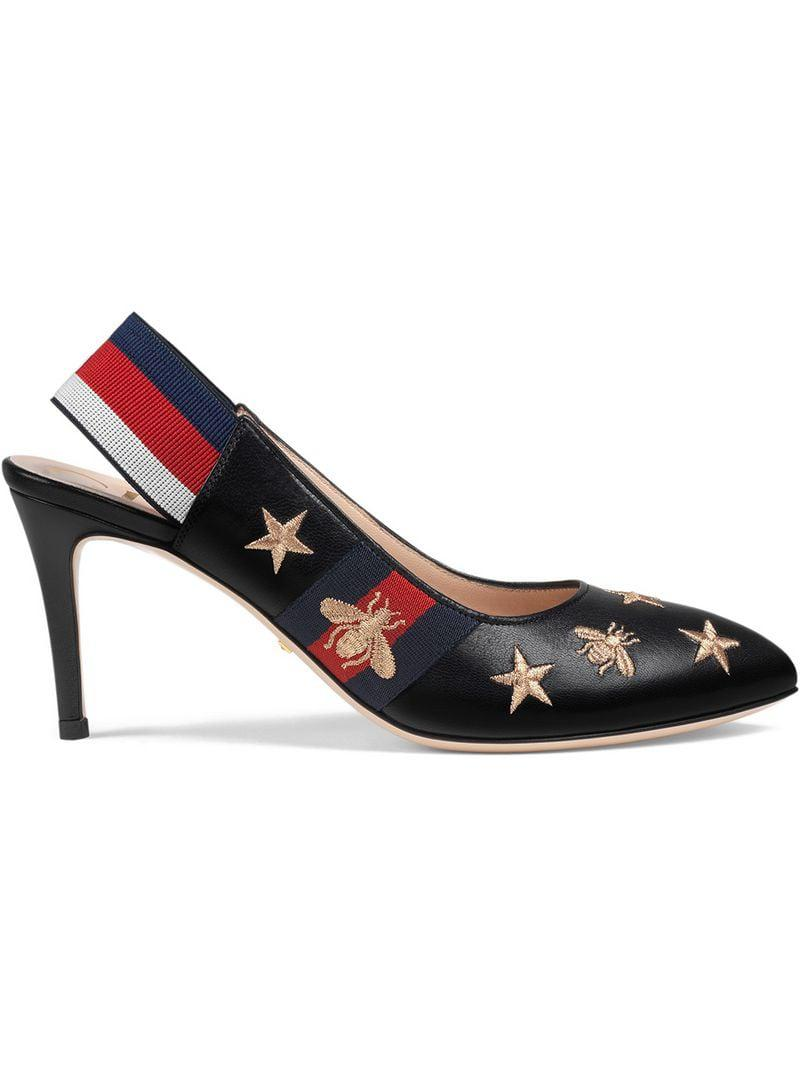 6a48edad46 Lyst - Gucci Embroidered Leather Web Slingback Pump in Black
