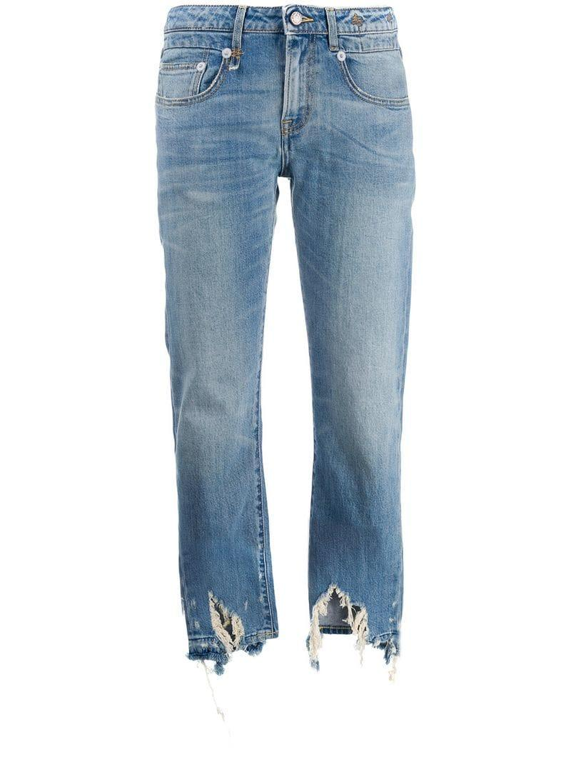 464215008e0 R13 Distressed Straight-cut Jeans in Blue - Lyst