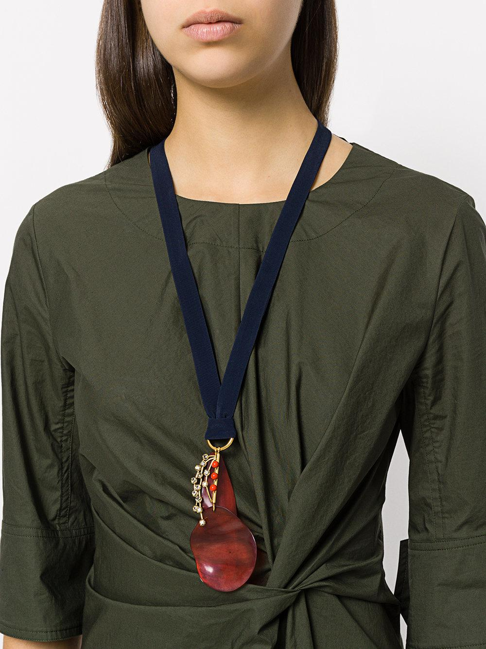 Marni Silk Ribbon Pendant Necklace in Red