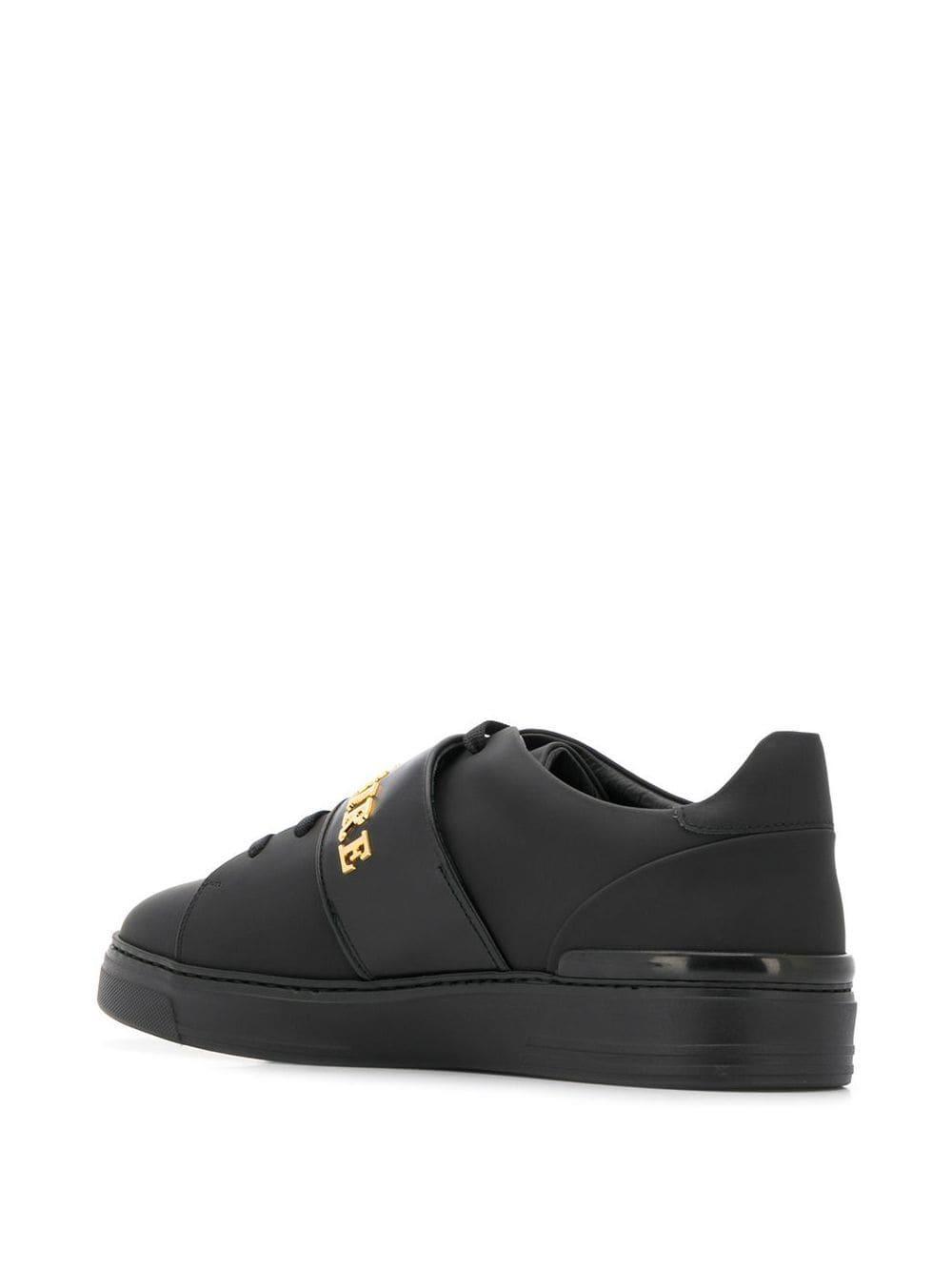 Zapatillas con logo en la correa Billionaire de Cuero de color Negro para hombre