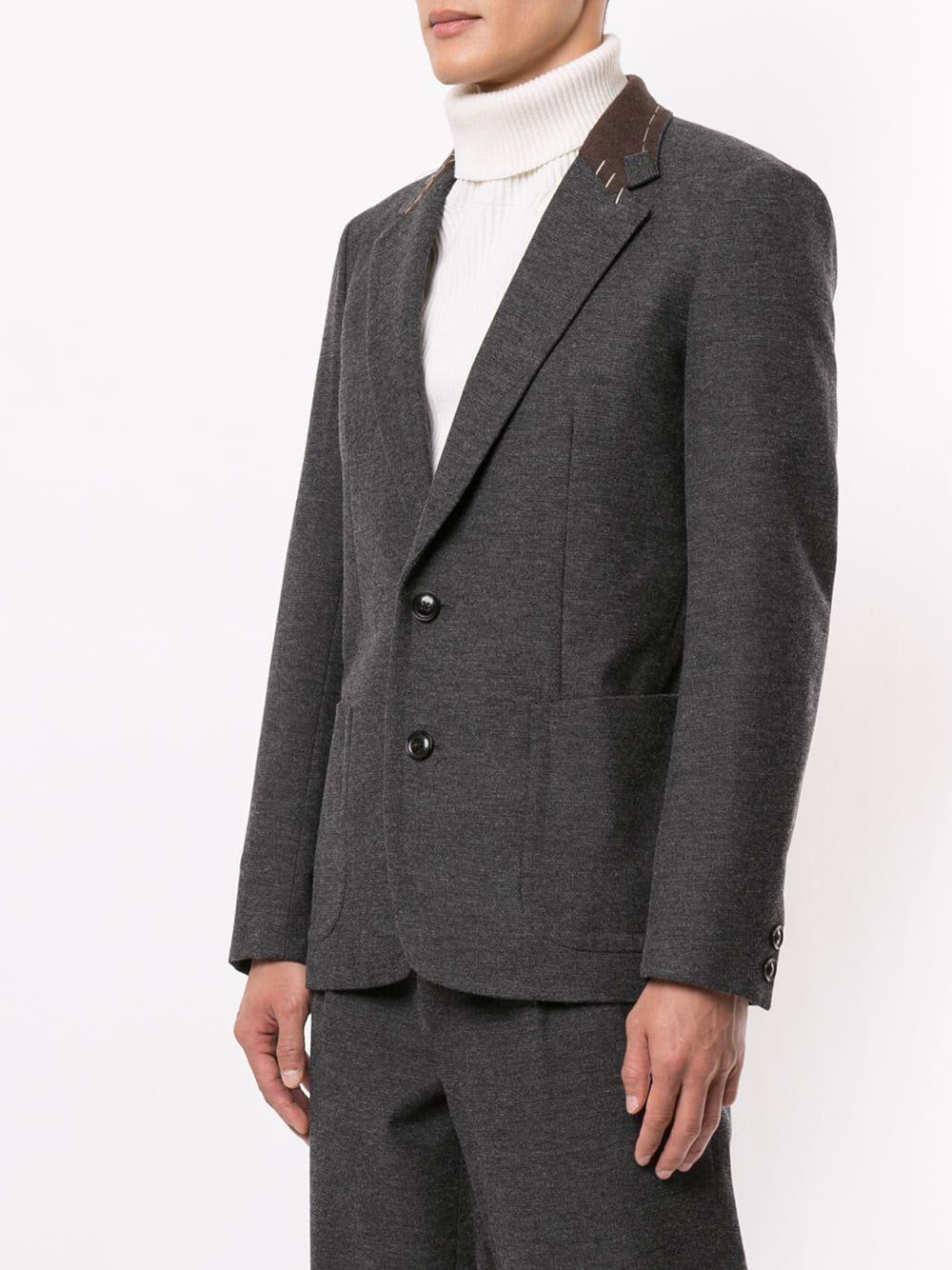 Kolor Wol Blazer Met Stiksel Detail in het Grijs voor heren