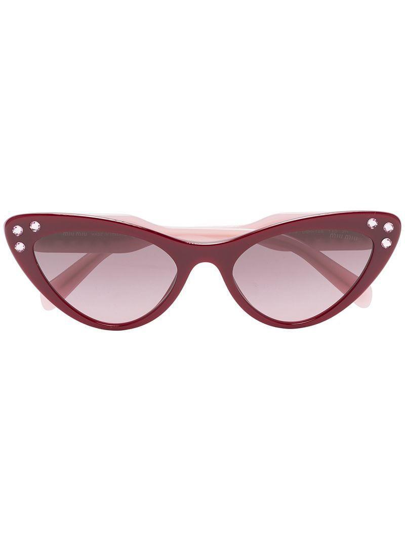e9062d8fb78a Lyst - Miu Miu Red Cat Eye Rhinestone Embellished Sunglasses in Red ...