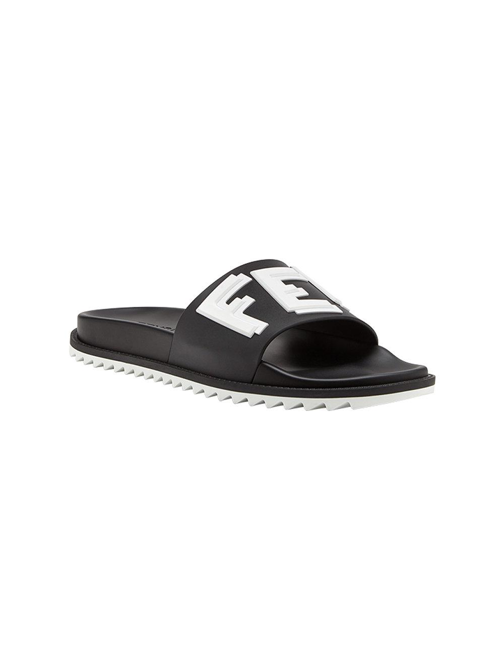 2823a0eb1c49 Lyst - Fendi Logo Print Pool Slides in Black for Men
