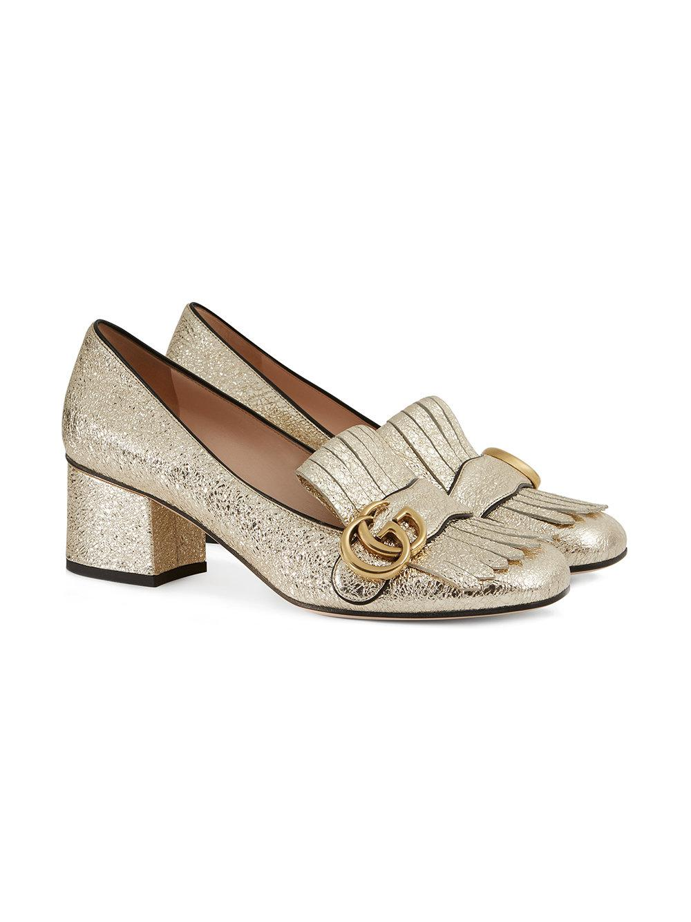 43cd29b37 Gucci Gold Marmont Leather Pumps in Metallic - Lyst