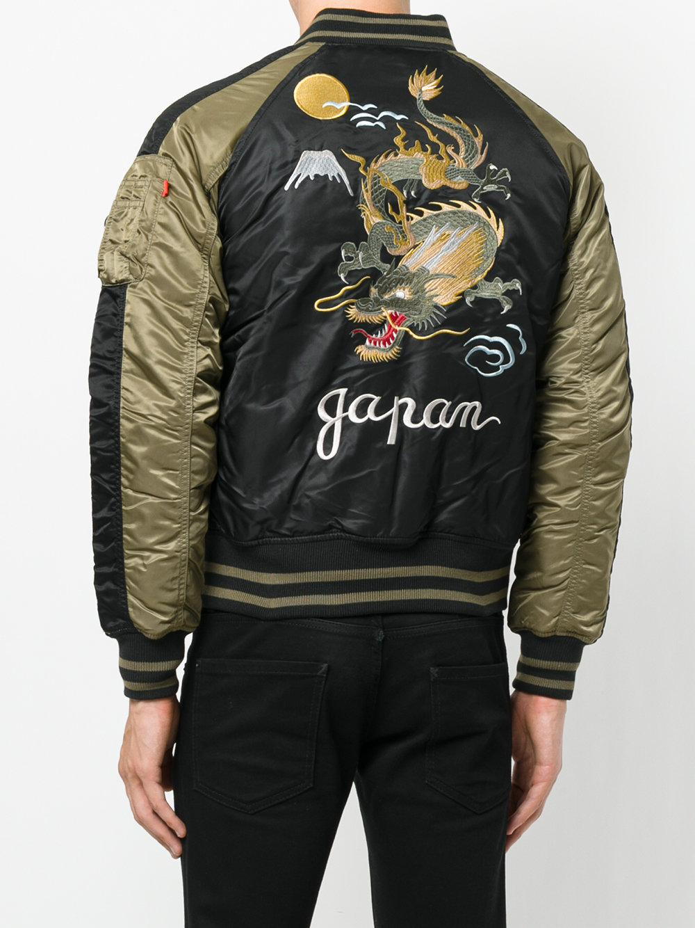 Alpha Industries Synthetic Dragon Embroidered Bomber Jacket in Black for Men