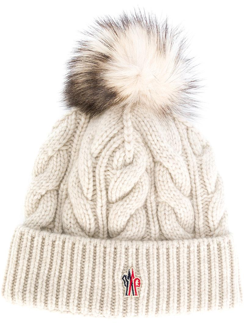 07c26769802 Moncler Grenoble Cable Knit Bobble Hat in White - Lyst