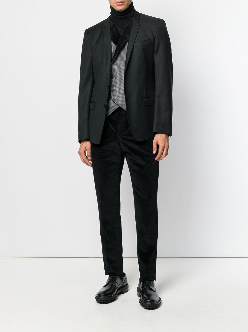 Al Duca d'Aosta Slim Velvet Trousers in Black for Men