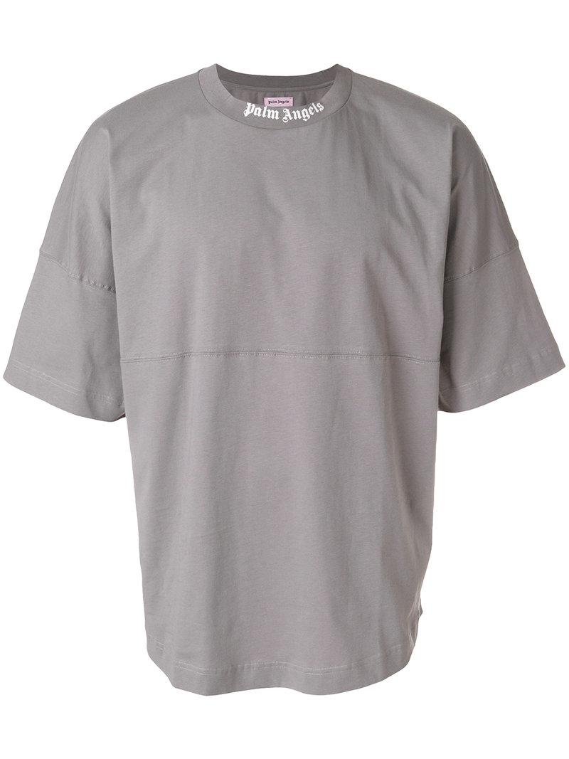 Lyst palm angels collar logo print t shirt in gray for men for Collar t shirt printing