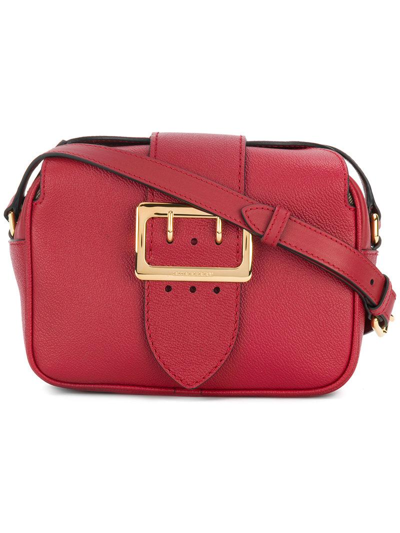 Lyst - Burberry Buckle Shoulder Bag in Red 0d02ee202bbce
