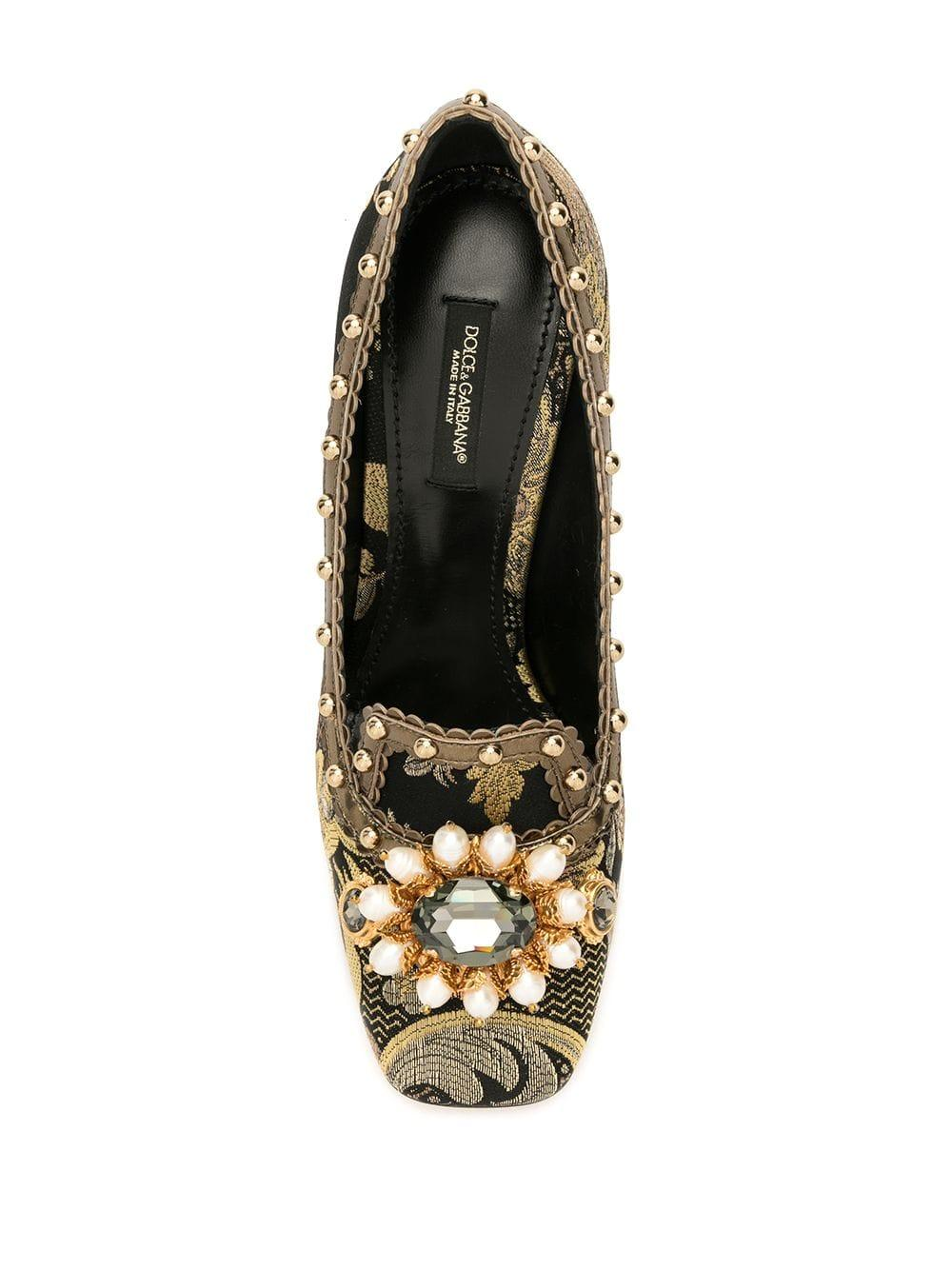 Zapatos de tacón con efecto en jacquard Dolce & Gabbana de Cuero de color Negro