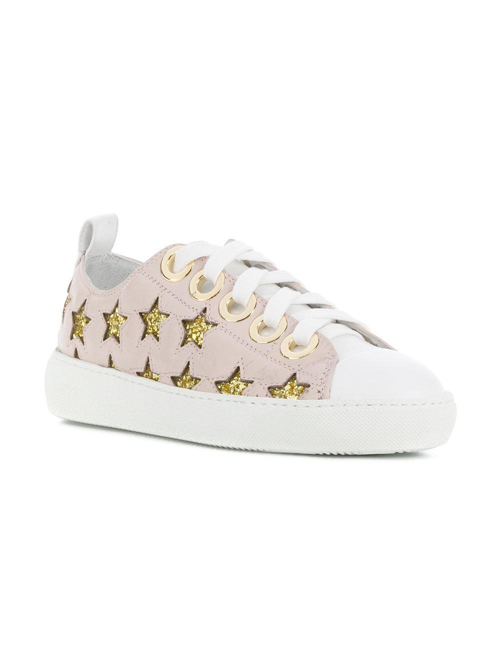 N°21 Leather Low-top Star Sneakers in Pink & Purple (Pink)