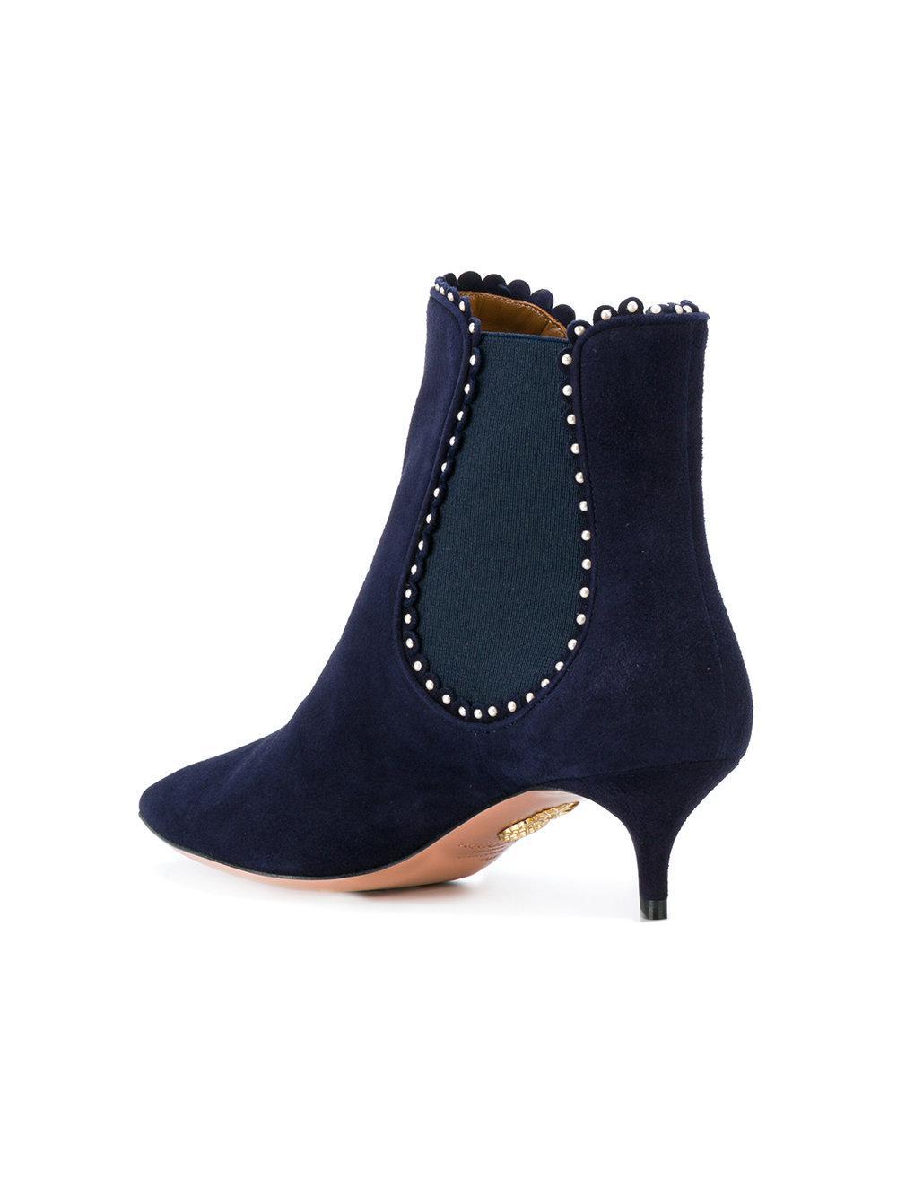 Aquazzura Suede Jicky Boots in Blue