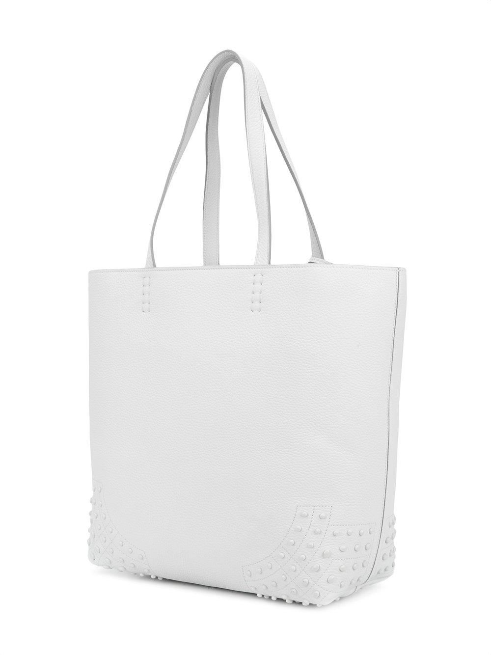Tod's Leather Wave Medium Tote Bag in White