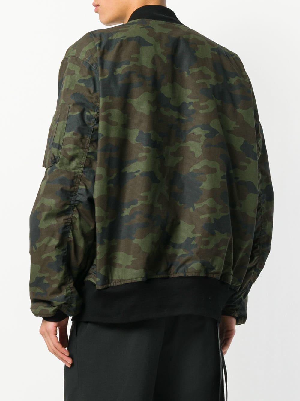 Unravel Project Katoen Bomberjack Met Camouflageprint in het Groen voor heren