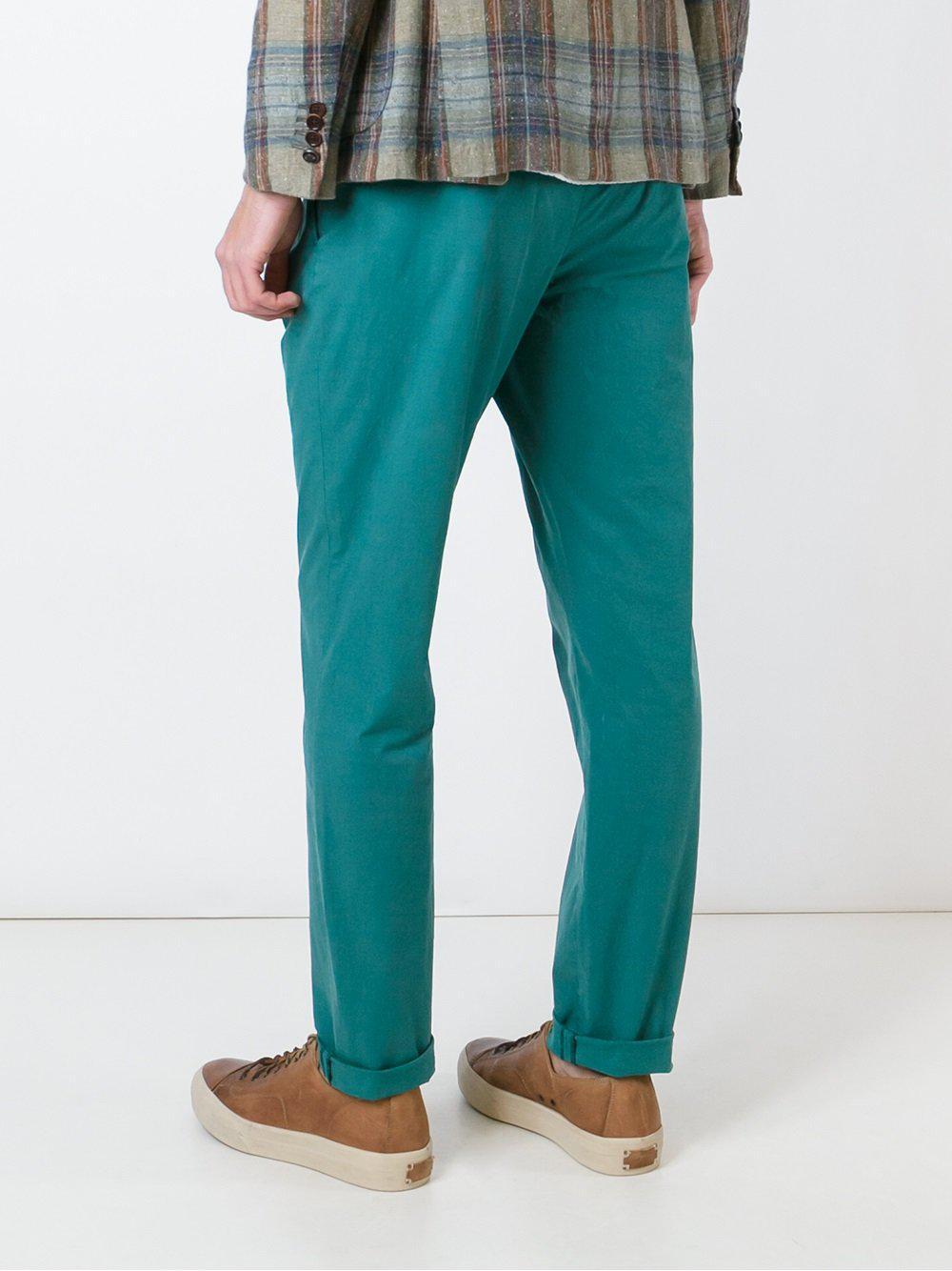 Al Duca d'Aosta Cotton Pleated Trousers in Green for Men