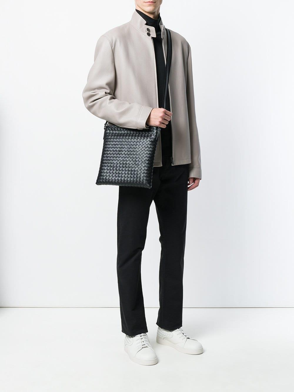 Bottega Veneta - Black Nero Intrecciato Small Messenger Bag for Men - Lyst.  View fullscreen 03171f8e3f09e