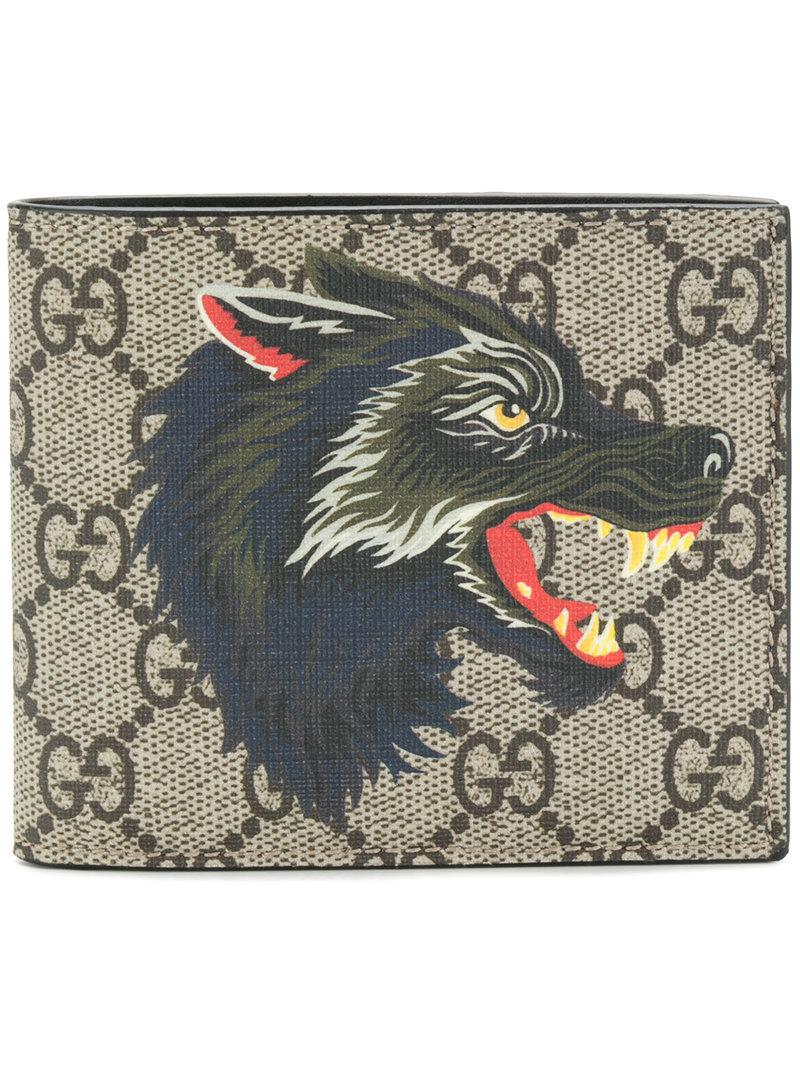 825df2a80f4e Gucci Wolf Print Gg Supreme Wallet in Brown for Men - Lyst